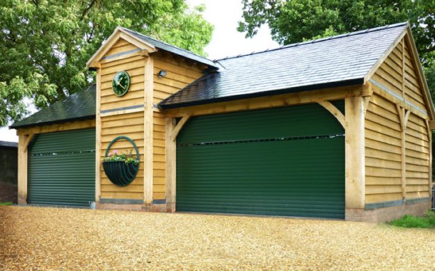 Classic Moss Green Vision Roller Garage Door
