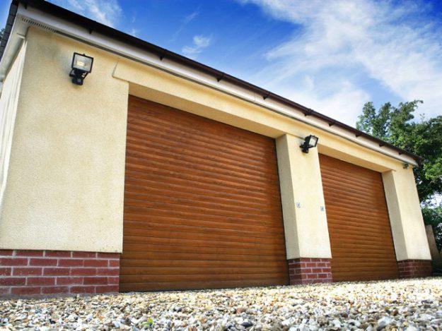 Classic roller garage doors painted golden oak finish