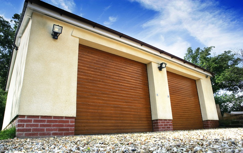 Classic roller garage doors painted golden oak finish