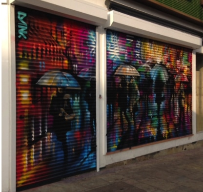 Shop Front Shutter with Graffiti Art