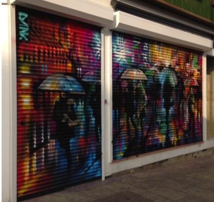 Shop Front Shutter with Graffiti Art