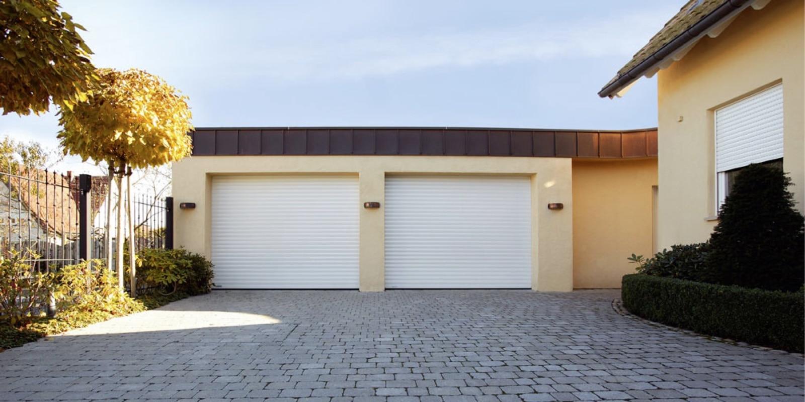 Roller Garage Door White Twin Roche Security Shutters