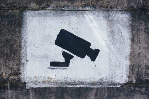 surveillance camera on wall
